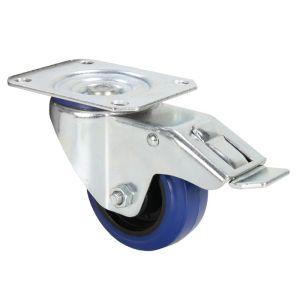 240253 Adam Hall Hardware 372091 Lenkrolle 80 mm mit blauem Rad und Feststeller - Perspektive
