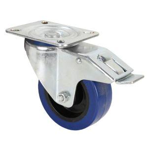 240255 Adam Hall Hardware 372191 Lenkrolle 100 mm mit blauem Rad und Feststeller - Perspektive