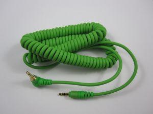241839 Reloop Kopfhörer Spiral-Kabel green 3,5 mm Klinke/ 3,5 mm Klinke gewinkelt stereo (1,15 - 4,00 m) - Perspektive