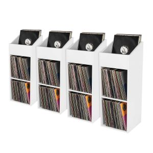 Glorious Record Rack 330 white 4er Bundle