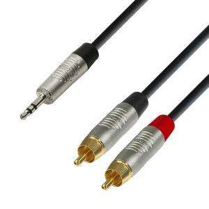 Adam Hall Cables K4 YWCC 0600 Audiokabel REAN 3,5 mm Klinke stereo auf 2 x Cinch male 6 m