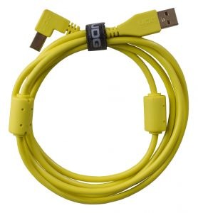 243821 UDG Ultimate Audio Cable USB 2.0 A-B Yellow Angled 1m - Perspektive