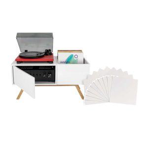 244165 Glorious Turntable Lowboard + Vinyl Divider white 10er Set - Perspektive