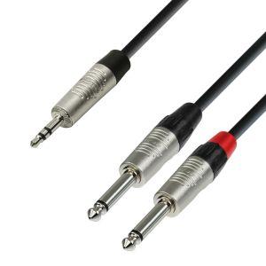 244312 Adam Hall Cables K4 YWPP 0090 Audiokabel REAN 3,5 mm Klinke stereo auf 2 x 6,3 mm Klinke mono 0,9 m - Perspektive