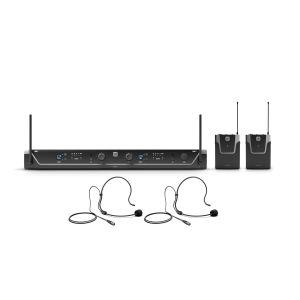 244528 LD Systems U308 BPH 2 Dual - Funkmikrofon System mit 2 x Bodypack und 2 x Headset - 863 - 865 MHz + 823 - 832 MHz - Perspektive