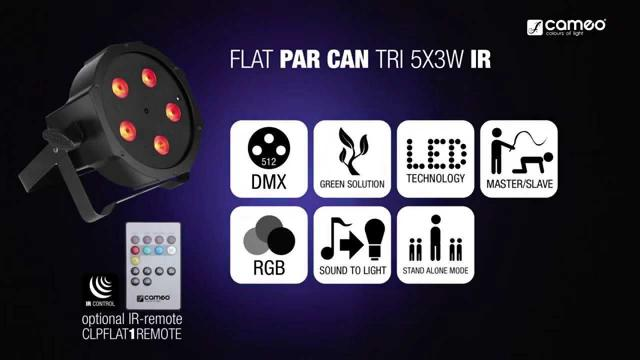 Cameo FLAT PAR CAN TRI 5x3W IR - 5 x 3 W High Power TRI colour FLAT LED RGB PAR