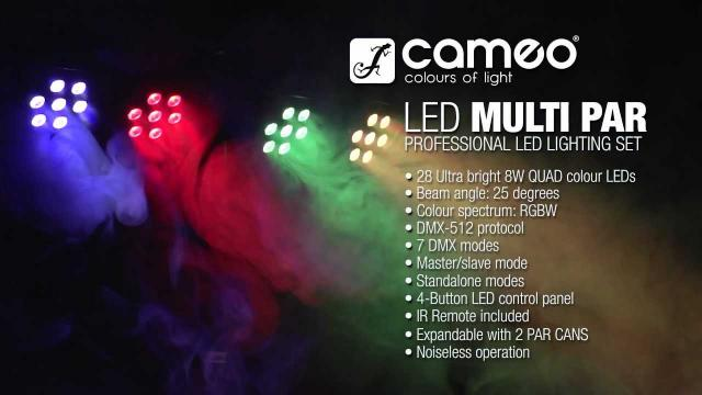 Cameo Light Multi PAR 3- Compact 28 x 8 W QUAD colour LED Lighting Set