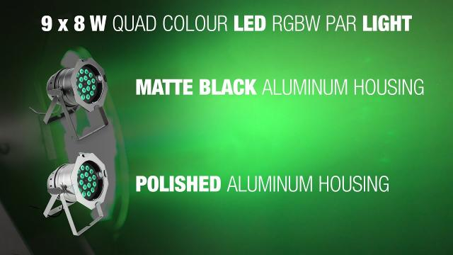 9 x 8 W QUAD Colour LED RGBW PAR light