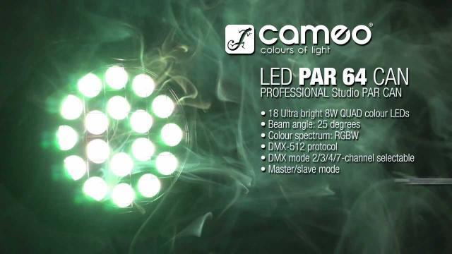 Cameo Light STUDIO PAR 64 CAN - 18 x 8W QUAD Colour LED PAR Can RGBW