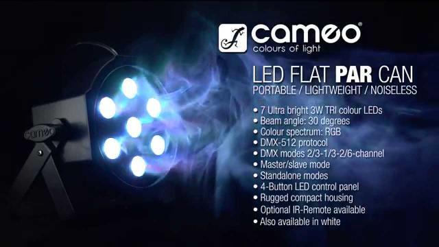 Cameo Light FLAT PAR CAN - 7 x 3W TRI Colour LED PAR CAN RGB IR WH
