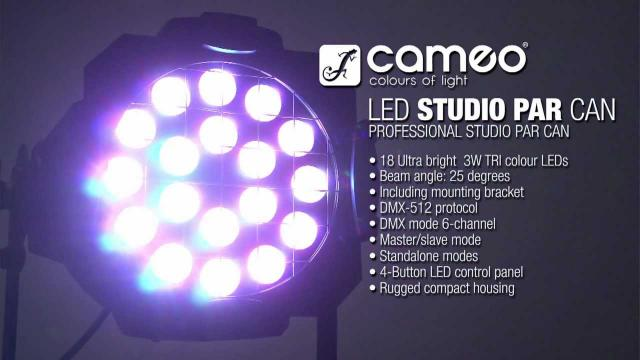 Cameo Light 18 x 3 W TRI Colour LED Studio PAR Can 64 RGB