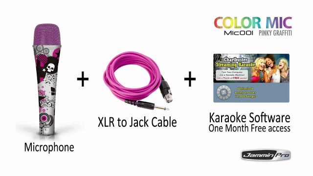 Jammin Pro Color Microphone Mic001 Pink Graffiti