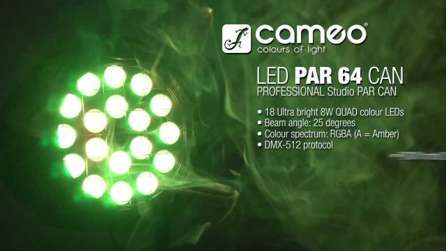 Cameo Light Studio PAR 64 CAN - 18 x 8W QUAD Colour LED PAR Can RGBA