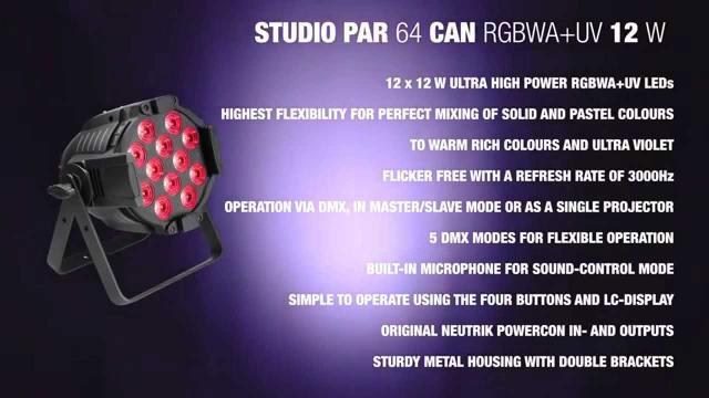 Cameo Studio PAR 64 CAN RGBWA+UV 12 W - 12 x12W QUAD Colour LED RGBWA+UV PAR light in black housing