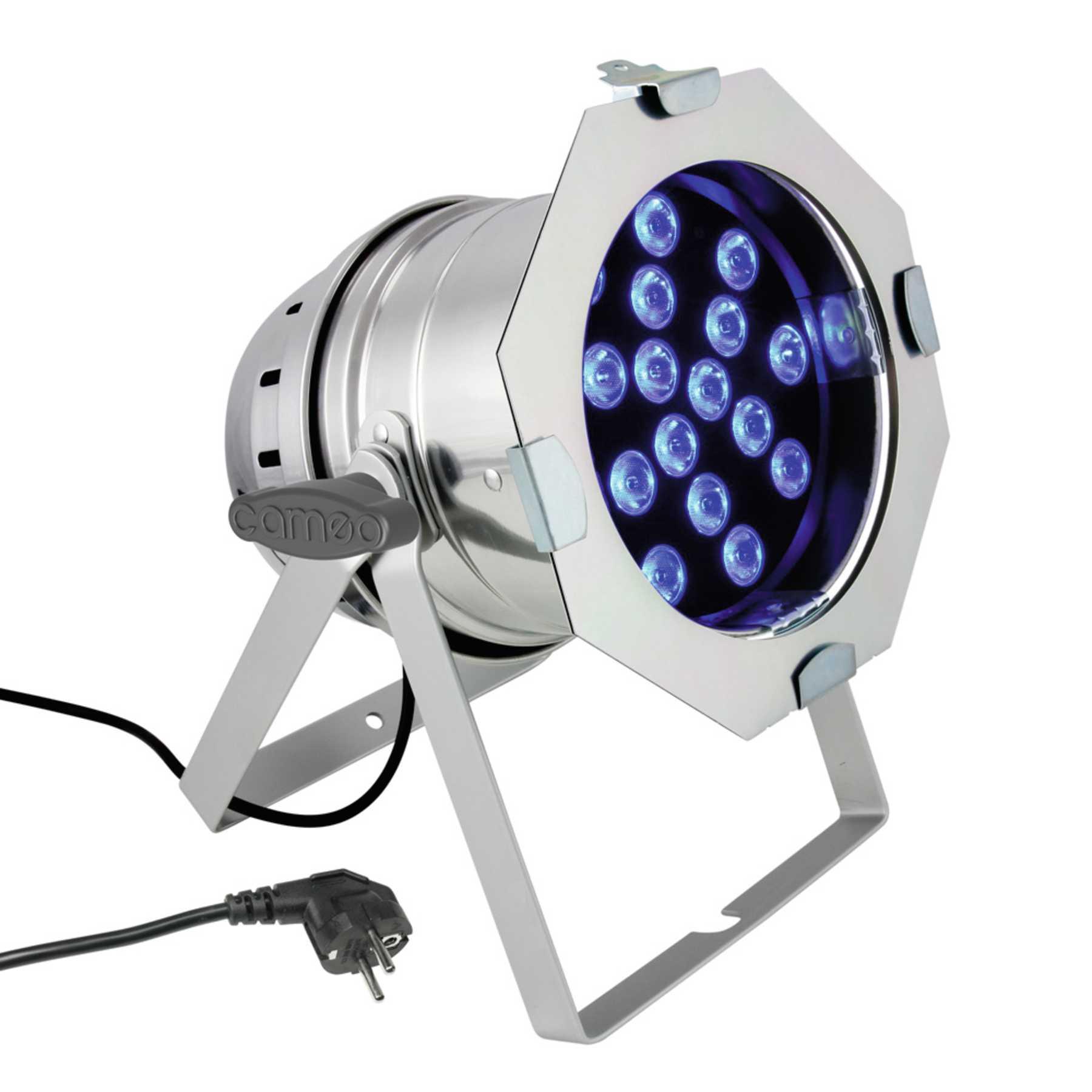 Cameo PAR 64 CAN 18 x 3 W TRI Colour LED RGB PAR Scheinwerfer in poliertem Gehäuse 229848